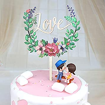 Monliya Cake Decoration Topper Woody Love Colorful Rose Lovers Seat