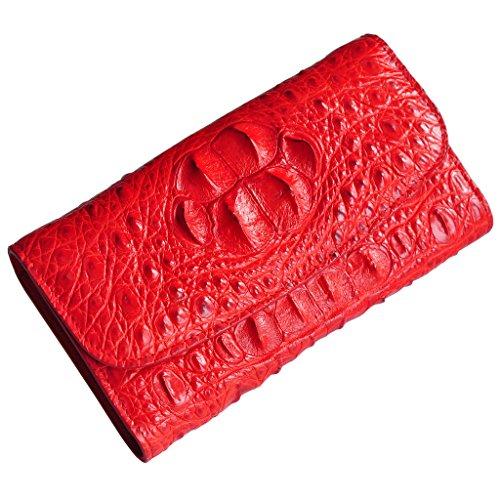 CROCUST Luxury Crocodile Leather Women's Wallet Crocodile Skin Clutch Wallet Handmade Holder Purse by FOUR-C