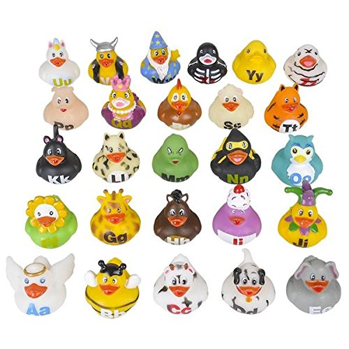 Kidsco Alphabet Rubber Duckies – 2 inches Cool And Fun Baby Bath Toys (Pack of 26) - Great Gift Ideas, Party Favors, Giveaways - Duck Art Projects