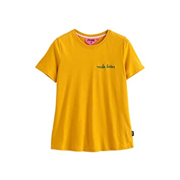 WLG Carta de Verano Camiseta Amarilla Simple Camiseta Femenina de Manga Corta Cuello Redondo Salvaje,