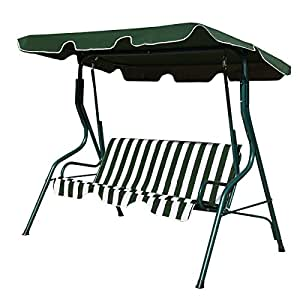 Patio Canopy Swing Glider Hammock Cushioned Steel Frame Backyard Green 3Seat