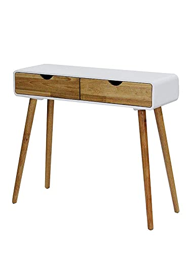 Great Heather Ann Creations Euro Collection Modern 2 Drawer Console Table Writing  Desk, 31.5u0026quot; Tall