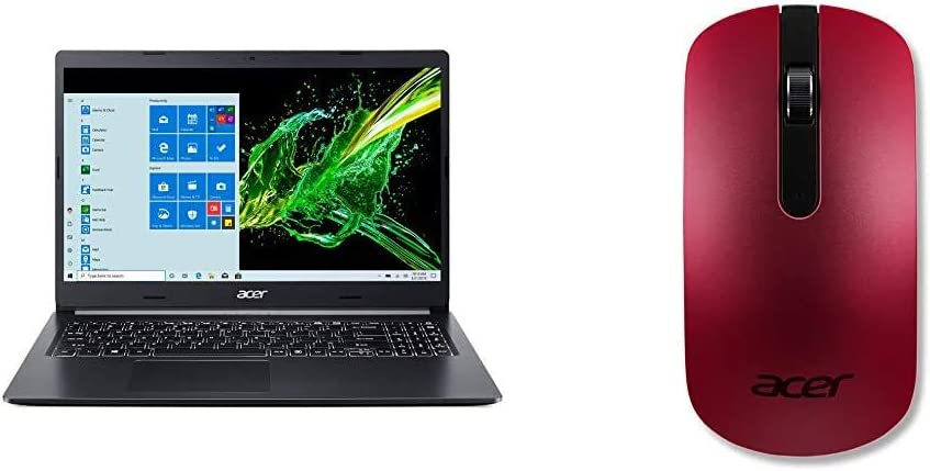 """Acer Aspire 5 A515-55T-53AP, 15.6"""" HD Touch Display, 10th Gen Intel Core i5-1035G1, 8GB DDR4, 256GB NVMe SSD, WiFi 6, HD Webcam with Acer Slim Wireless Optical Mouse - Red"""