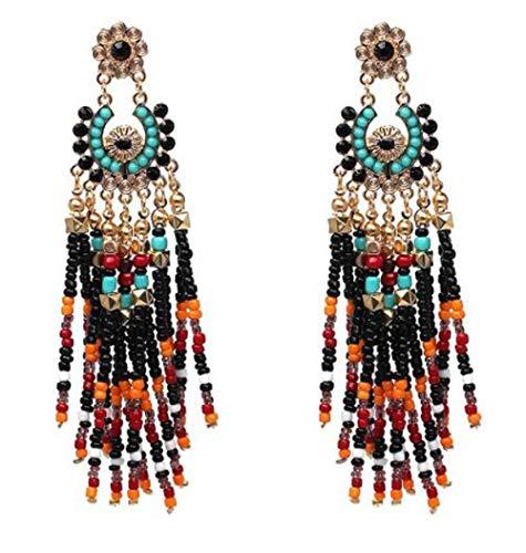 HoGadget Women's Beaded Earrings Bohemian Multicolour SeededTassel Drop Dangle Earrings Handmade Statement Chandelier Earrings