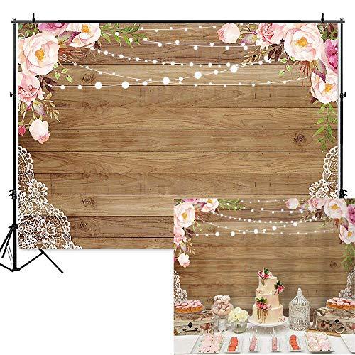 (Mocsicka Rustic Wood Floor Birthday Backdrop Wedding Bridal Shower Background 7x5ft Vinyl Floral Brown Wood Lace Baby Shower Banner Backdrops )