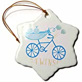 3dRose RinaPiro - Kids - Twins. Boys. Announcement. Cute picture. - 3 inch Snowflake Porcelain Ornament (orn_261342_1)