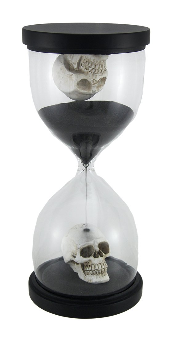 Resin And Glass Timers 10 Inch Tall Gothic Skulls Sand Timer Hourglass 4.5 X 10 X 4.5 Inches Black