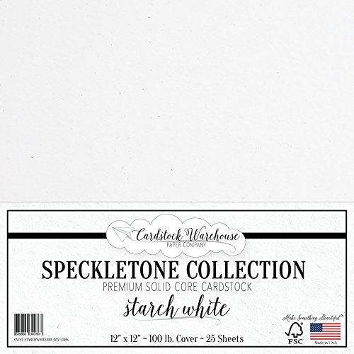 STARCH WHITE SPECKLETONE Recycled Cardstock Paper - 12 x 12 inch - PREMIUM 100 LB. COVER - 25 Sheets