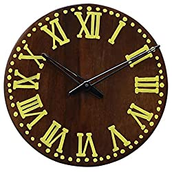 Wooden Decorative Wall Clock Large Vintage Style Battery Operated For Living Room Victorian Rustic Round Brown 11 Inch With Yellow Roman Numeral Non Ticking Silent Clock