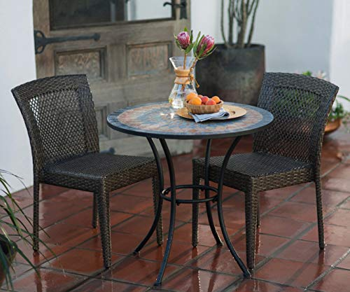 - Patio Dining Set. Outdoor Furniture Kit Of Steel, Aluminum, Resin Wicker For Porch, Lawn, Pool, Balcony Diner, Bistro, Seating 2 Person. Outside, Round Table With Stone Mosaic Pattern, Stack Chairs.