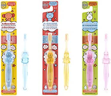 3 Pack - Naturally Antibacterial Childrens Toothbrush - No Toothpaste Required, Just Brush & Rinse With Water - Safe for babies, toddlers & kids aged 0-5 - 3 fun animal designs