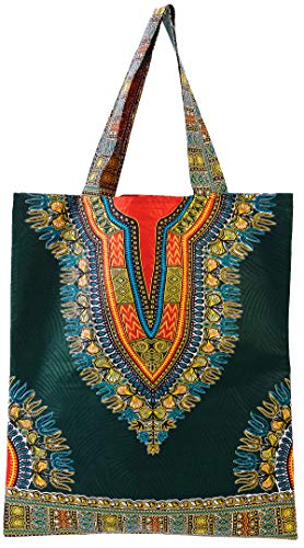 Women African Ankara Bag Dashiki Wax Print Tote Bag (COLOR C) (Print African Bag)