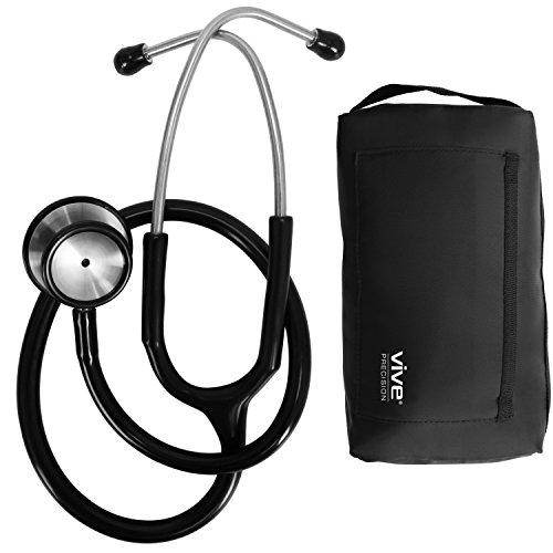 Stethoscope by Vive Precision [Black] Dual Head Diaphragm Bell for Nurses, Cardiology, Veterinary, Fetal Pediatrics Blood Pressure Kit - Double Barrel Device for Doctors, Nurses, (Double Head Stethoscope)