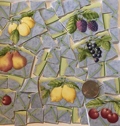 Mosaic Art & Craft Supply ~ Fine China Fruit Tiles Blue Green Red & Yellow Tiles (B206) ()