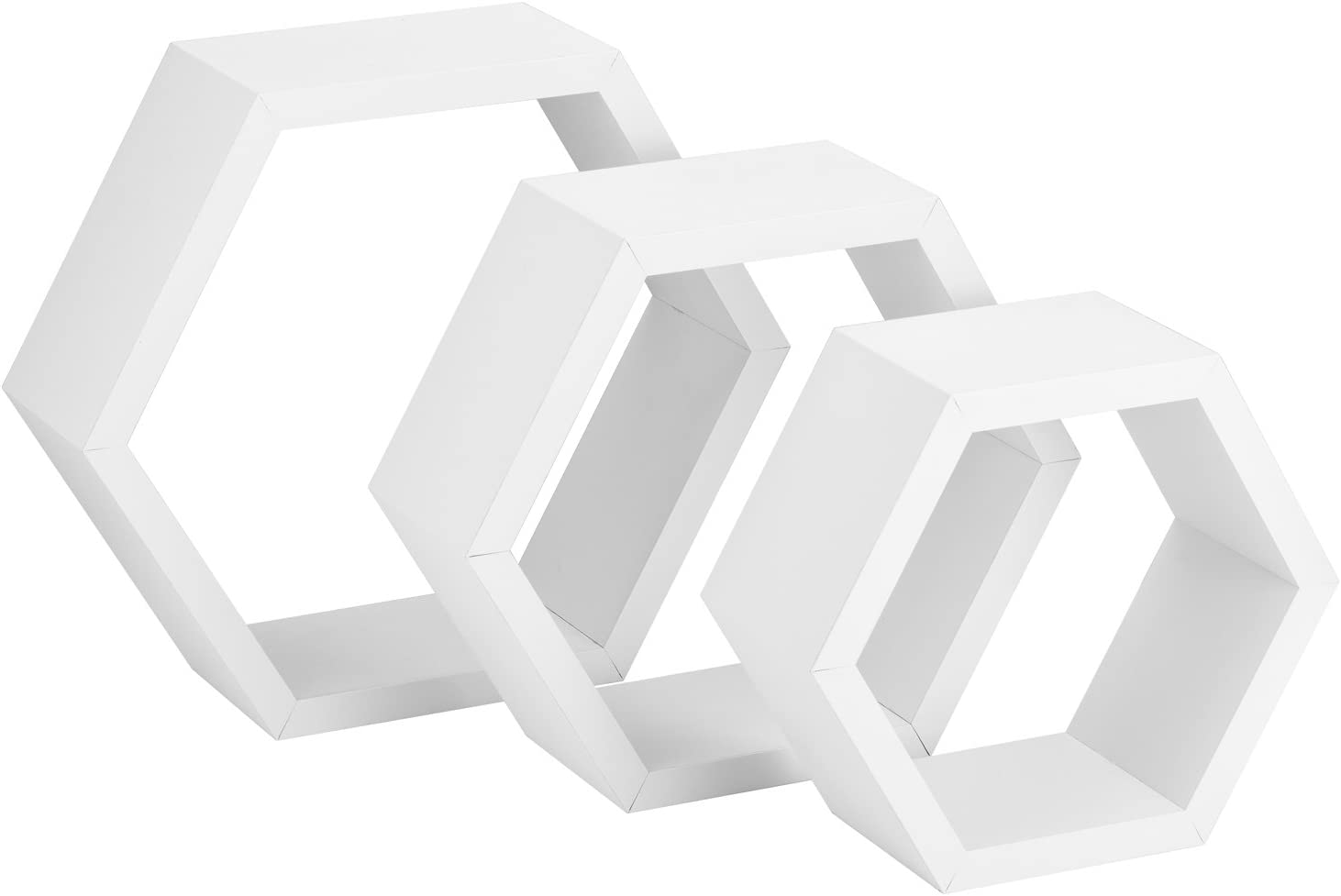 Halter Hexagonal Shaped Floating Shelves (White) for Wall/Room Decorative Display - Set of Three - Easy Installation,Screws & Hardware Included - Wood Veneer