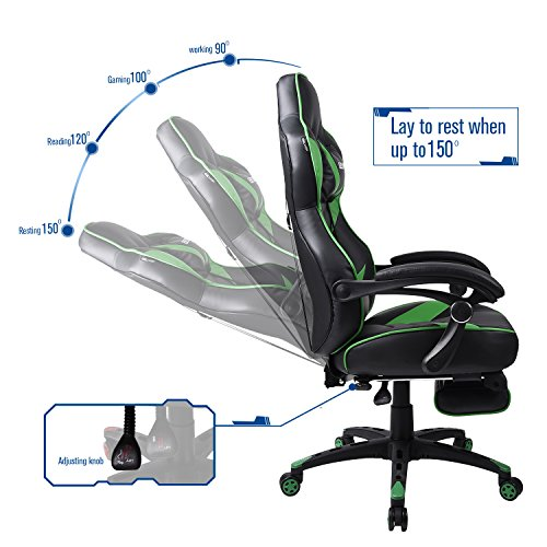 Gaming Chair Black for Adults Back Swivel Computer Office Chair Lumber Support