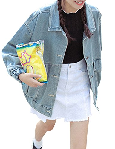Bess Bridal Women's Oversized Boyfriend Denim Jacket Long Sleeve Loose Jean Coat - Oversized Denim