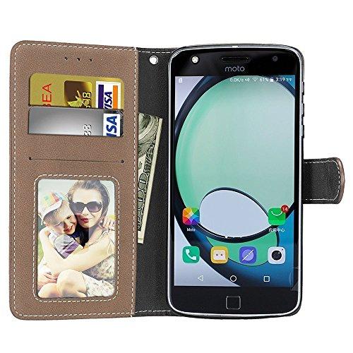 SRY-Caso sencillo Para el caso del juego de Moto Z, ranura para tarjeta pura de la cinta, hebilla magnética, función del soporte plana abierta el teléfono Shell Protección reforzada ( Color : Beige ) Beige