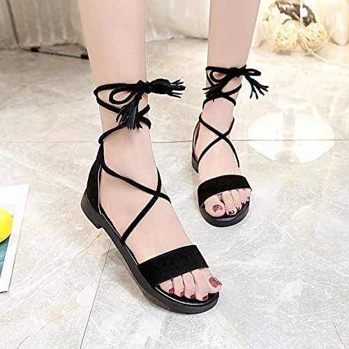 XIAOGEGE Correa sandalias zapatos de mujer verano nuevo sandalias de playa Negro