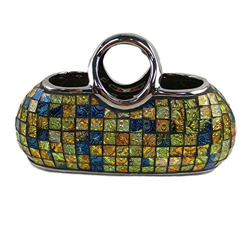 Decorative Ceramic & Glass Purse Floral Vases, 11.5