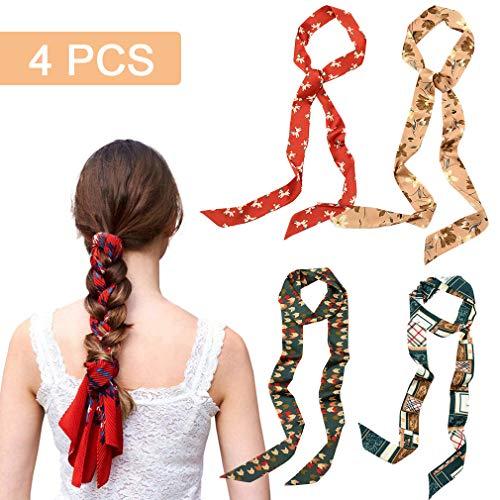 4Pcs Hair Scarf Scrunchies Braid Long Ribbon Chiffon Hair Bands Ties head Wrap Ponytail Holder Striped Rope Vintage Accessories for Women Girls (Hair Yarn Ties)