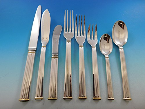 Triade Gold by Christofle France Silverplated Flatware Set Service 83 pieces