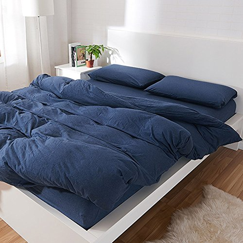 YAMFEI 3 Piece Solid Dark Blue Duvet Cover Set Queen/King Luxury Soft Jersey Cotton Home Bedding Collection Comforter Cover Sets with 2 Pillow Cases (King, Dark (Blue Try Out T-shirt)