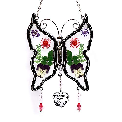 - Loganrock Precious Mom Butterfly Suncatcher Wind Chimes Gifts for Mom, Pressed Flower Between Glass for Window, Silver Metal Engraved Charm, as Mother's Day Mom Birthday Christmas Gifts from Daughter