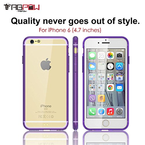 iPhone 6 Case, iPhone 6s Case, TabPow Slim Fit Purple Clear Case [Scratch-Resistant Shock-Absorption] [Transparent Back Cover] For Apple iPhone 6 / iPhone 6s (4.7 inch)