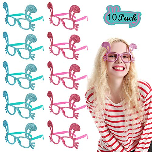 Easter Bunny Costume Glasses - 10 Pairs Glittered Blue Pink Rabbit Eyewear, Funny Photo Booth Props for Holiday Party Easter ()