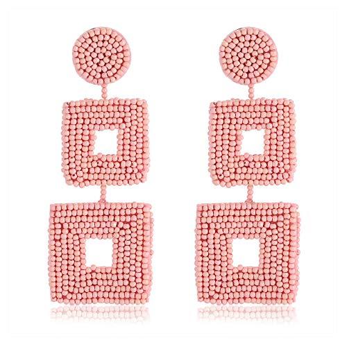 Statement Beaded Drop Earrings Handmade Seed Bead Square Dangle Earrings Bohemia Earring Studs for Women Girls (Pink)