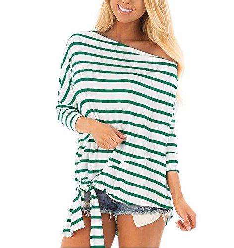 Les Rayure Manches Sweat en Shirt Shirt Bande Vert Loisirs Coton Hellomiko t Manches lache 3 Hors Souris Confortable Femmes 4 Doux Chauve qUCWUzd