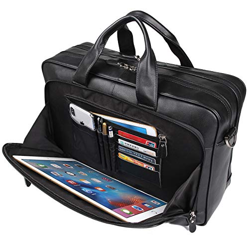 Augus Mens Leather Briefcase Messenger Bag, Waterproof Travel Business Duffle Bags for Men 17 Inch Laptop Bag(black-1) - Leather Travel Messenger Bag
