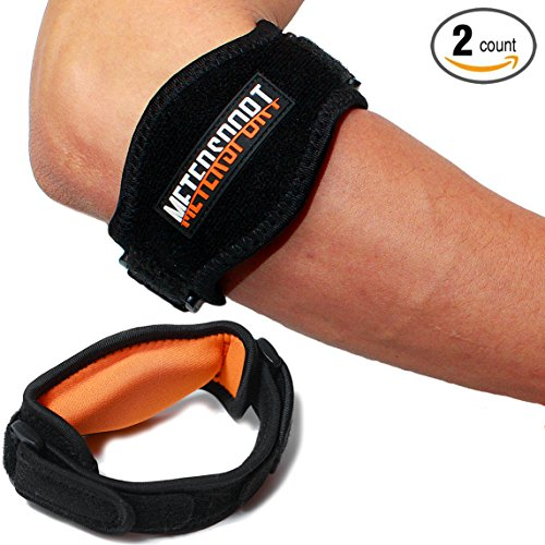 MeterSport - Best Tennis Elbow Brace (2 Count) with Compression Pad - Tennis and Golfer's Elbow Pain Relief - Prevents Elbow Tendonitis - Provides Tennis Elbow Support - Bonus Wristband & E-book
