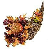"20"" Autumn Harvest Cornucopia with Gourds Thanksgiving Table Top Centerpiece"
