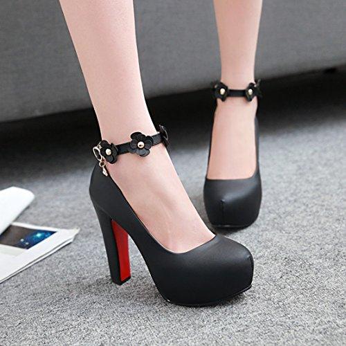 AIYOUMEI Geschlossen Knöchelriemchen Pumps mit Blumen Blockabsatz High Heel Damen Party Schuhe mit Absatz Schwarz