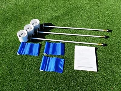Deluxe Putting Green Accessory Kit - (3) PGA Plastic 4 Inch Cups & (3) Pin Markers with Blue Jr Flags