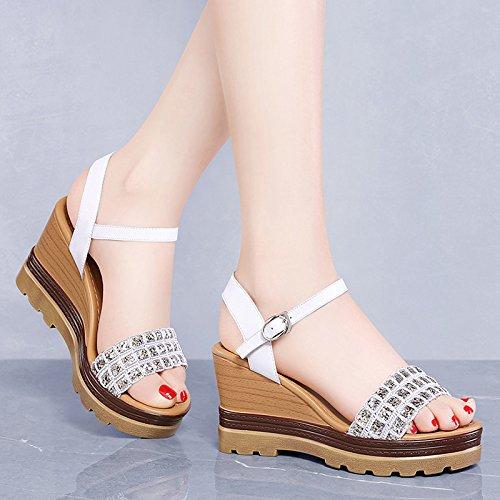 altosChicas de White verano alto zapatos sandalias Tacones de tacón gruesas HUAIHAIZ AwqSfPa5