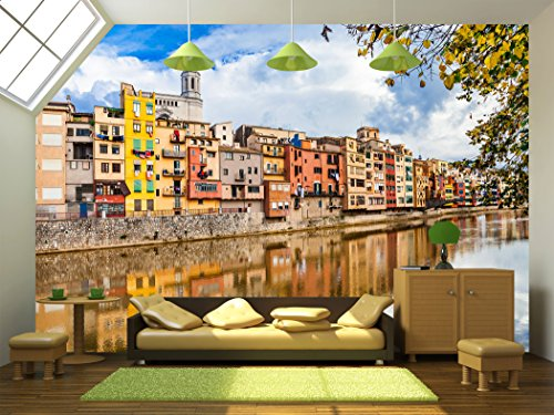 wall26 - Beautiful Canals of Girona Town - Spain - Removable Wall Mural | Self-adhesive Large Wallpaper - 66x96 inches by wall26