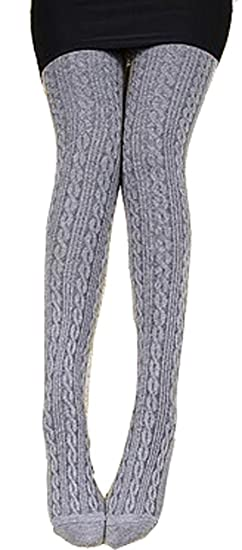 Demarkt Knitted Pantyhose Womens Knit Tights Light Gray At Amazon