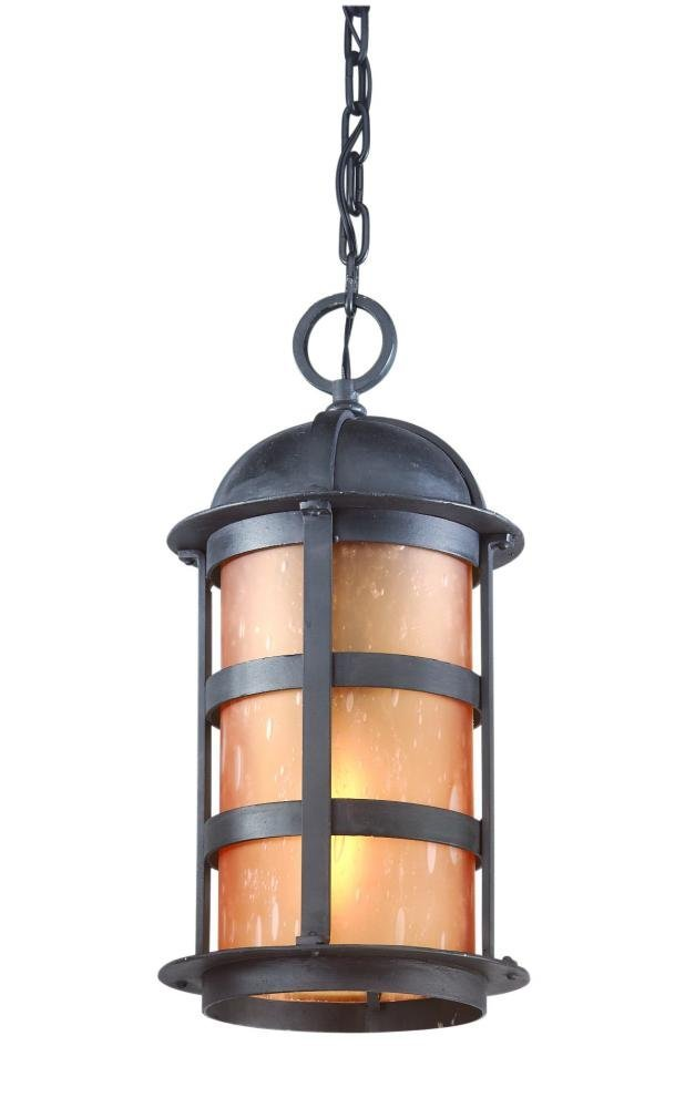 Troy Lighting Aspen 1-Light Outdoor Pendant - Natural Bronze Finish with Seeded Amber Etched Glass by Troy