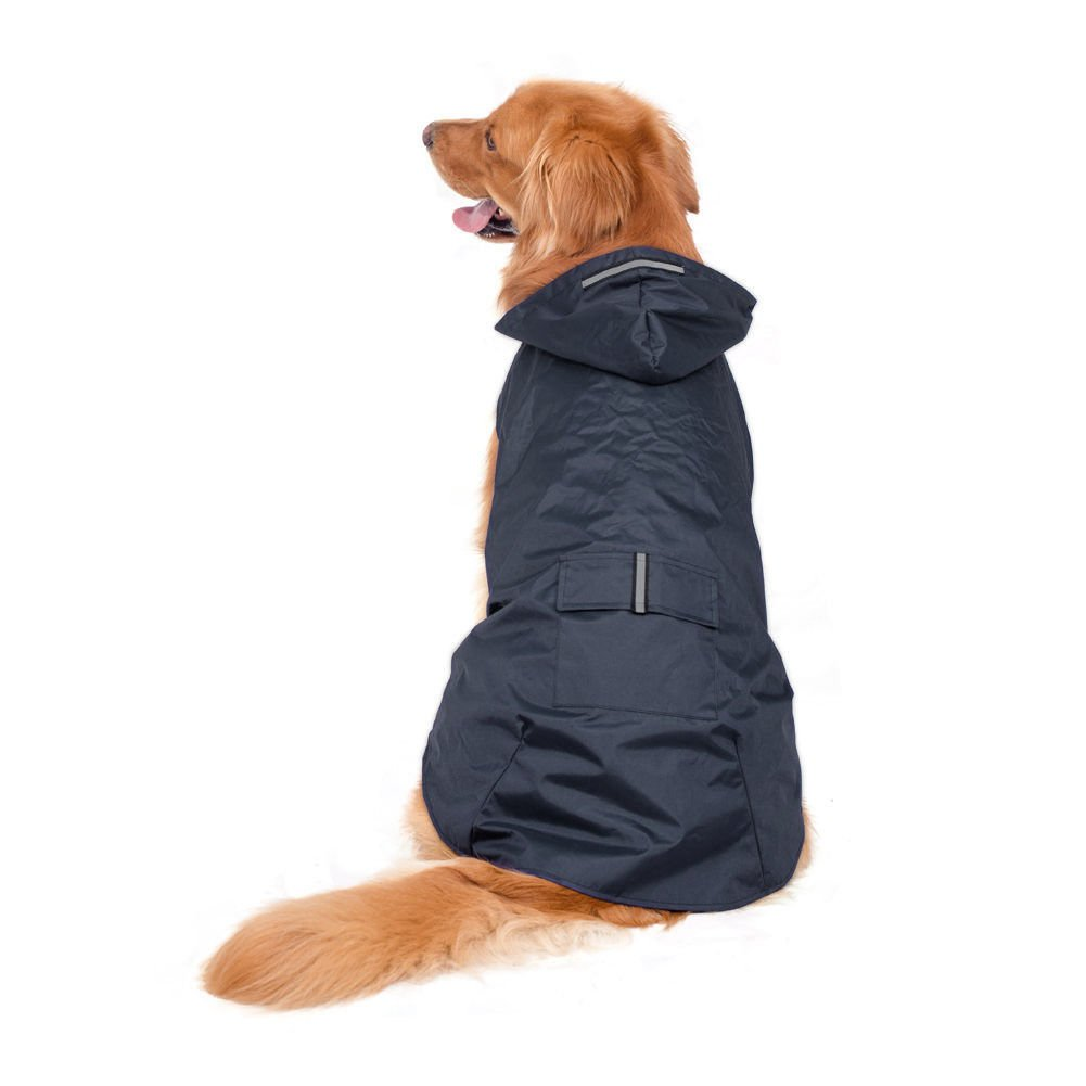 bluee 5XL( Length 27.56\ bluee 5XL( Length 27.56\ Fosinz Waterproof Reflective Dog Rain Coat Lightweight Raincoat Jacket Poncho with Leash Hole for Medium Large Dogs (5XL(Length 27.56 ,Chest 34.65 ,Neck 23.23 ), bluee)