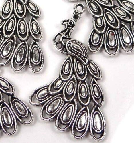 (4 Charms) 42x25mm Antiqued Silver Pewter Peacock Pendant Charm