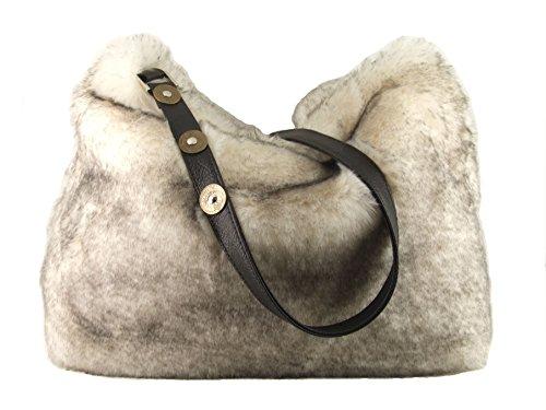 Handbag Faux Crossbody Womens Fur Shoulder LONI Bag Grey nqBz16CU