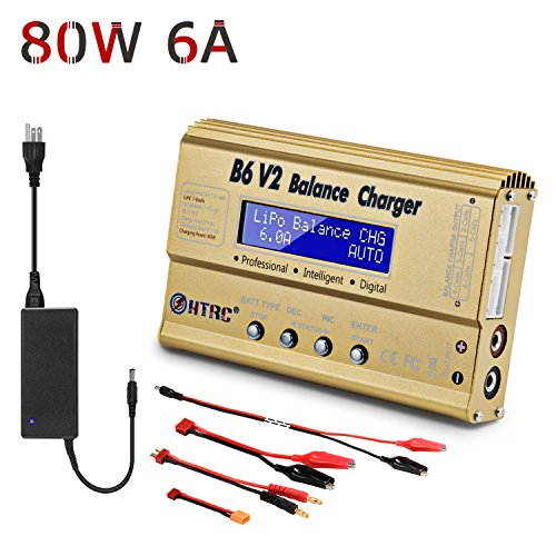 - HTRC LiPo Battery Balance Charger 80W 6A+AC Adapter Power 1-6S for Li-ion LiFe NiCd NiMH LiHV PB Battery