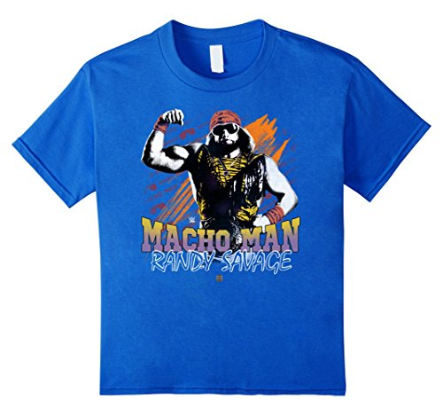 Kids WWE Macho Man Randy Savage Bicep Pose Retro T-Shirt 6 Royal Blue by WWE