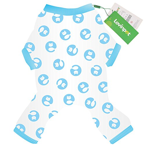 LovinPet Dog Pajamas Pet Clothes Cotton Stretchy Cat Pjs with Snap Button For Small Dog like Yorkie, Chihuahua, Pomeranian