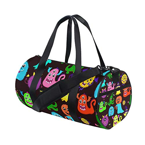 LONSANT Abstract Halloween for Girls Boys with Many Bright Monsters Pumpkin One-Eyed Barrel Duffel Bag Sports Yoga Gym Fitness Bag Travel Weekender Bags for Men and Women