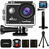 LeadEdge LE6000 Action Camera 4K EIS WiFi 16MP Sports Cam Waterproof Underwater DV Ultra HD 4K/30FPS 1080P/60FPS 30M Diving Remote Control/External MIC/Monopod/Tripod/Carrying Case/2 Batteries