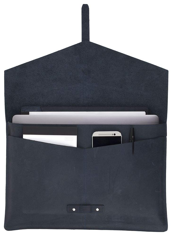 """SLATE COLLECTION Belltown Laptop Sleeve, Full-Grain Leather (Indigo, fits 15"""" Laptop) by SLATE COLLECTION (Image #6)"""